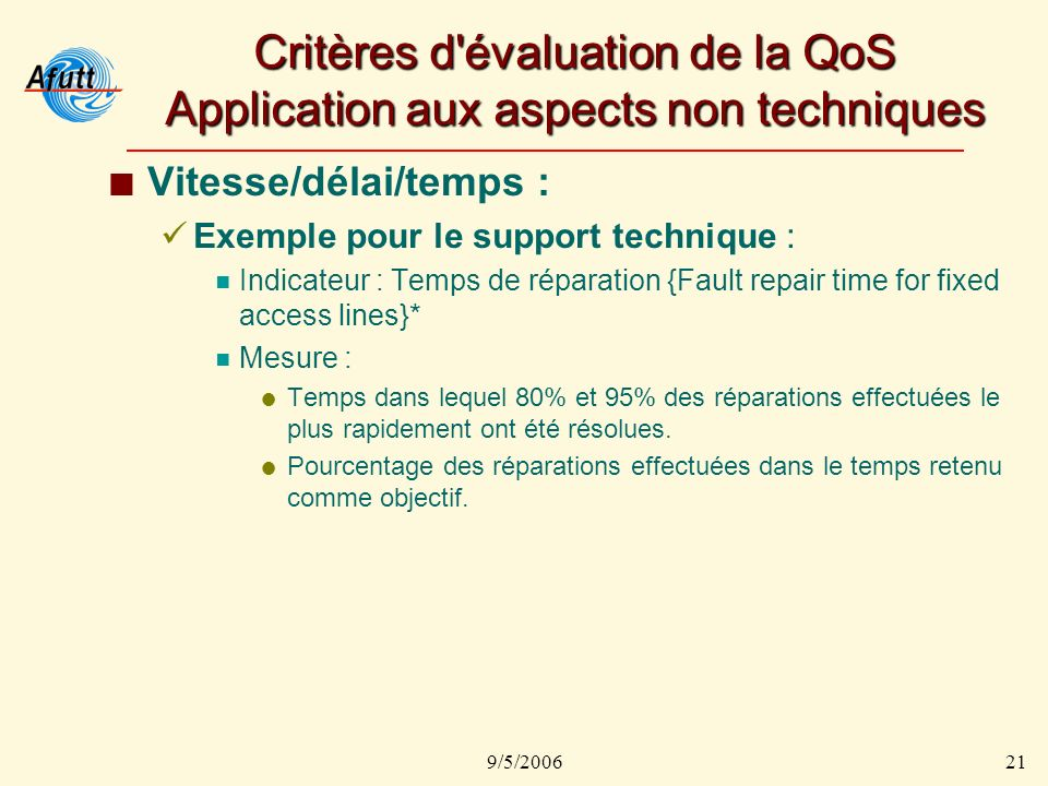 9/5/200621 Critères d'évaluation de la QoS Application aux aspects non techniques Vitesse/délai/temps : Exemple pour le support technique : Indicateur