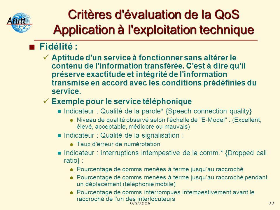 9/5/200622 Critères d évaluation de la QoS Application à l exploitation technique Fidélité : Aptitude d un service à fonctionner sans altérer le contenu de l information transférée.