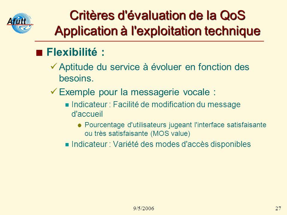 9/5/200627 Critères d évaluation de la QoS Application à l exploitation technique Flexibilité : Aptitude du service à évoluer en fonction des besoins.
