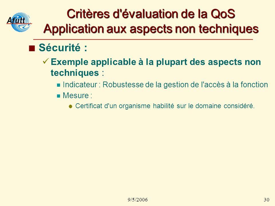 9/5/200630 Critères d évaluation de la QoS Application aux aspects non techniques Sécurité : Exemple applicable à la plupart des aspects non techniques : Indicateur : Robustesse de la gestion de l accès à la fonction Mesure : Certificat d un organisme habilité sur le domaine considéré.