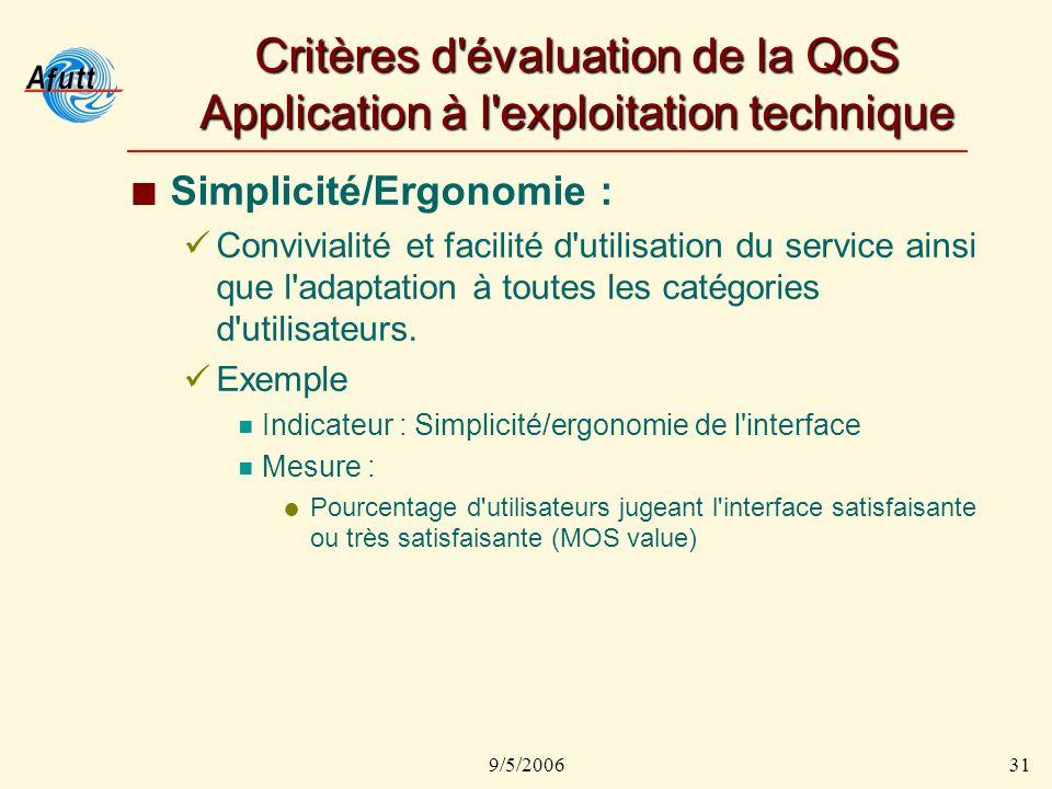 9/5/200631 Critères d évaluation de la QoS Application à l exploitation technique Simplicité/Ergonomie : Convivialité et facilité d utilisation du service ainsi que l adaptation à toutes les catégories d utilisateurs.