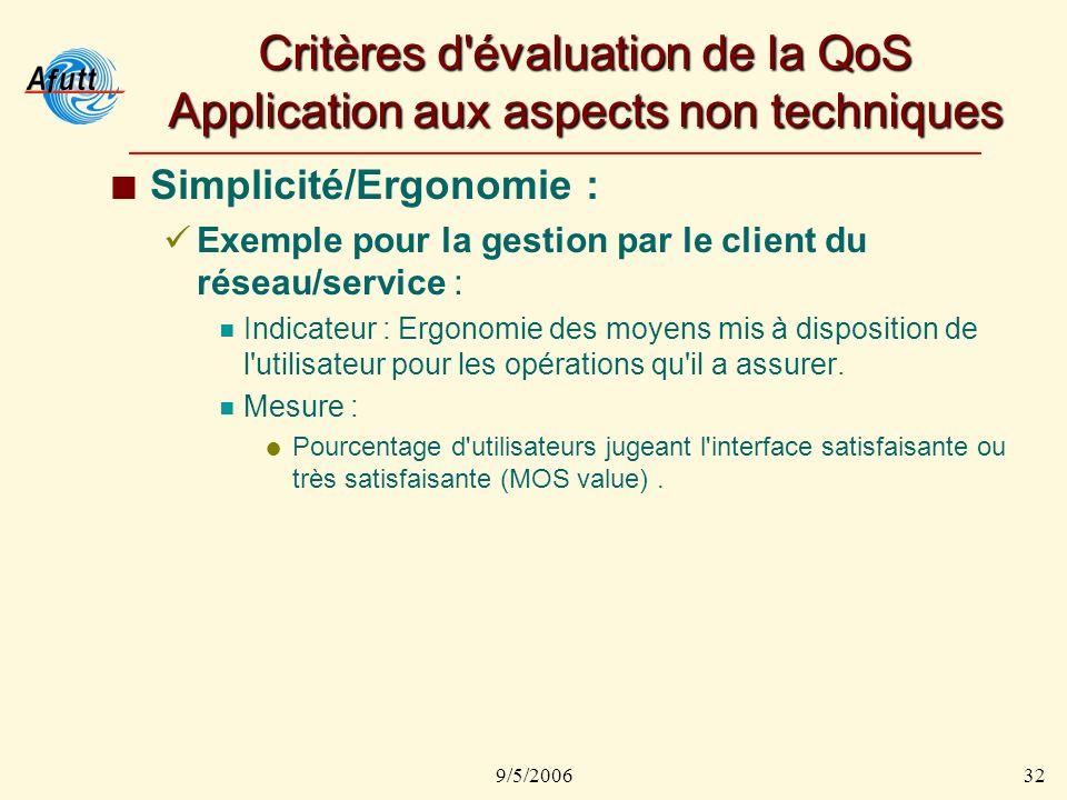 9/5/200632 Critères d évaluation de la QoS Application aux aspects non techniques Simplicité/Ergonomie : Exemple pour la gestion par le client du réseau/service : Indicateur : Ergonomie des moyens mis à disposition de l utilisateur pour les opérations qu il a assurer.