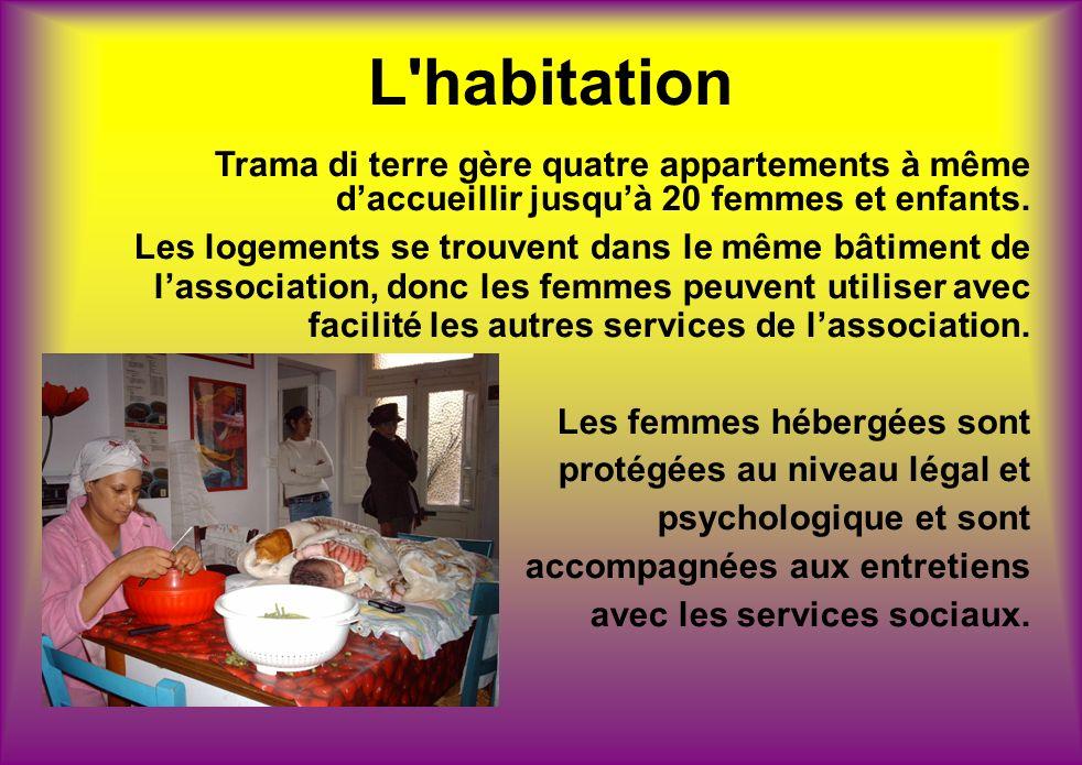 L'habitation Trama di terre gère quatre appartements à même daccueillir jusquà 20 femmes et enfants. Les logements se trouvent dans le même bâtiment d