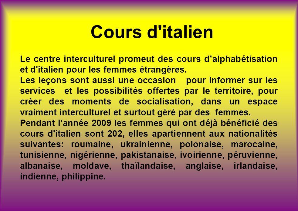 Cours d'italien Le centre interculturel promeut des cours dalphabétisation et d'italien pour les femmes étrangères. Les leçons sont aussi une occasion