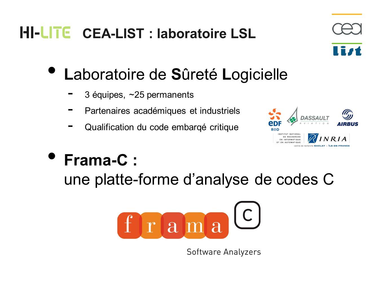 ACSL : spécifications formelles pour C ACSL : langage mathématique CEA-LIST : preuves en Frama-C frama-c -jessie-analysis *.c Gwhy / alt-ergo