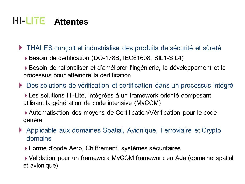 THALES conçoit et industrialise des produits de sécurité et sûreté Besoin de certification (DO-178B, IEC61608, SIL1-SIL4) Besoin de rationaliser et da
