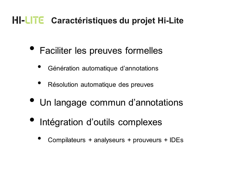 Convergence des tests et des preuves Preuves de programmes multi-langages Ada/C Logiciel libre Caractéristiques du projet Hi-Lite