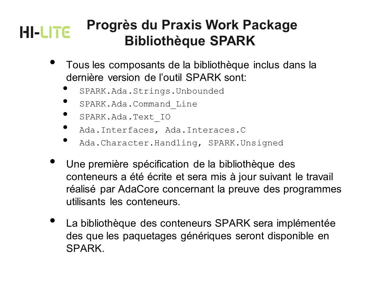 Tous les composants de la bibliothèque inclus dans la dernière version de loutil SPARK sont: SPARK.Ada.Strings.Unbounded SPARK.Ada.Command_Line SPARK.