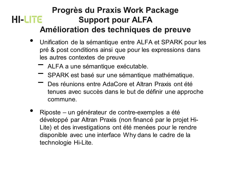 Unification de la sémantique entre ALFA et SPARK pour les pré & post conditions ainsi que pour les expressions dans les autres contextes de preuve ALF