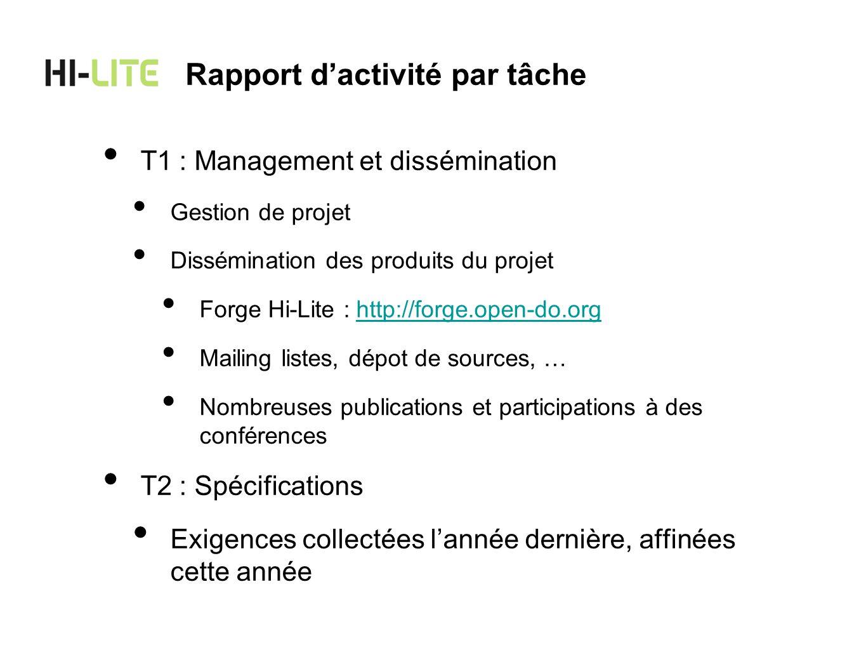 T1 : Management et dissémination Gestion de projet Dissémination des produits du projet Forge Hi-Lite : http://forge.open-do.orghttp://forge.open-do.o