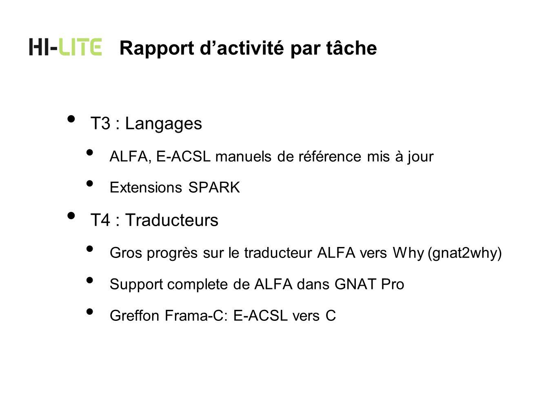 T3 : Langages ALFA, E-ACSL manuels de référence mis à jour Extensions SPARK T4 : Traducteurs Gros progrès sur le traducteur ALFA vers Why (gnat2why) S