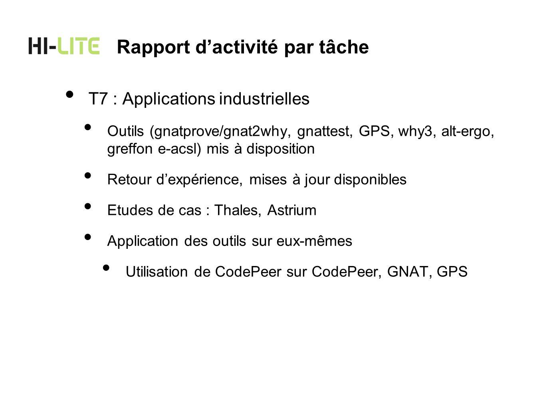 Stratégie de Thales dans le projet Intégrer les approches Hi-Lite dans loutillage Thales pour la génération dapplications Remontée des spécifications formelles dans les modèles Adaptation du code généré pour le rendre conforme à Hi- Lite Évaluer cette intégration sur un cas détude du domaine spatial