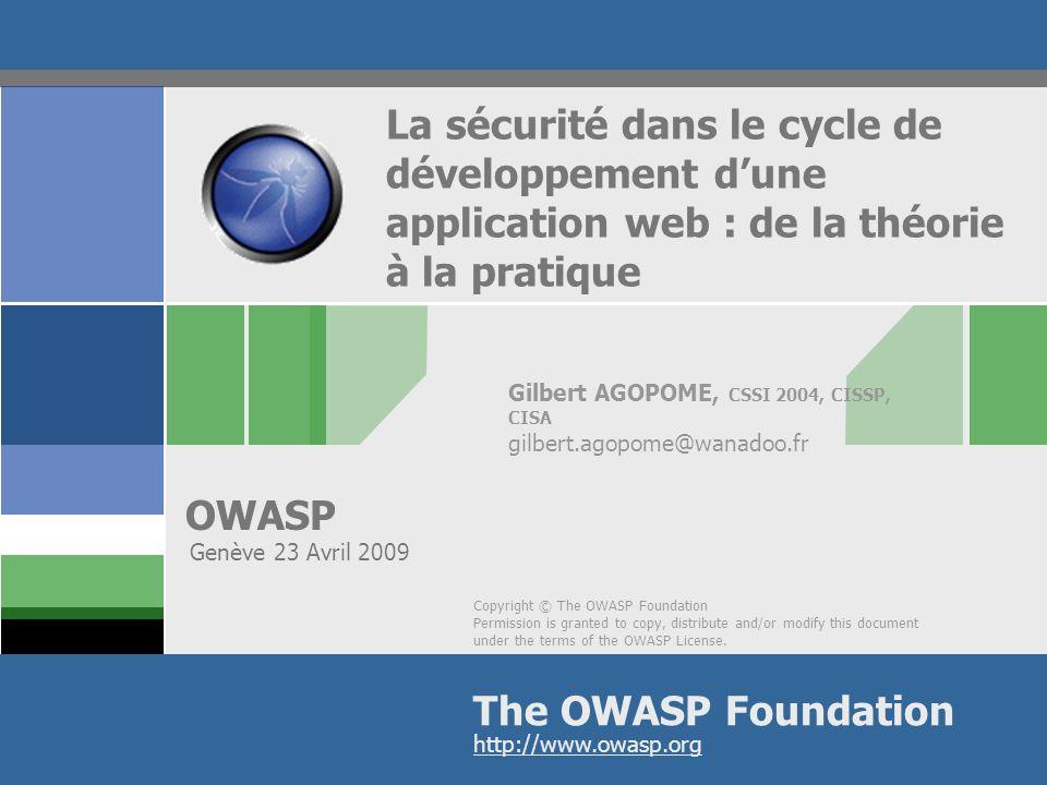 OWASP 22 Les audits de sécurité en production Tests sécurité automatisés sur la production 2 fois par an Tous les 2 ans des tests sont conduits par des compagnies daudits externes Pas de défi particulier à part la ma î trise des outils daudit utilisés