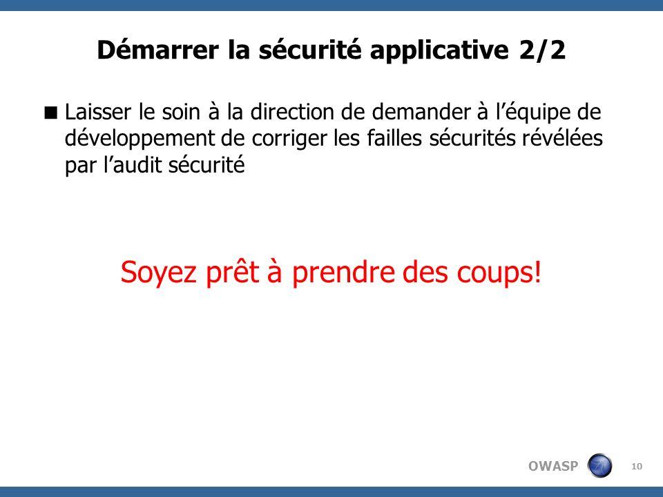 OWASP 10 Démarrer la sécurité applicative 2/2 Laisser le soin à la direction de demander à léquipe de développement de corriger les failles sécurités