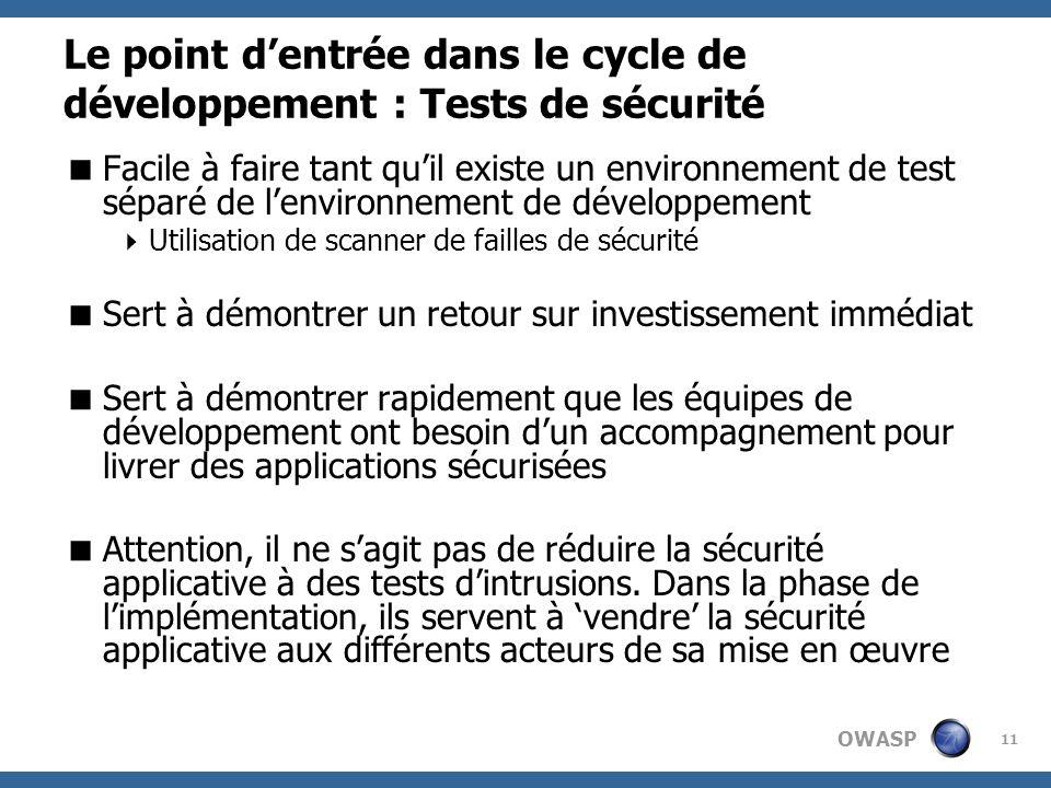 OWASP 11 Le point dentrée dans le cycle de développement : Tests de sécurité Facile à faire tant quil existe un environnement de test séparé de lenvir