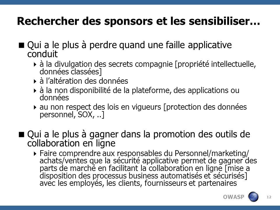 OWASP 12 Rechercher des sponsors et les sensibiliser… Qui a le plus à perdre quand une faille applicative conduit à la divulgation des secrets compagn