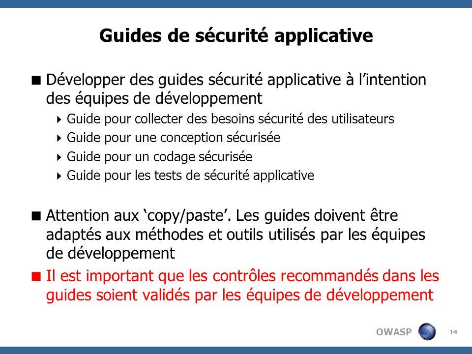OWASP 14 Guides de sécurité applicative Développer des guides sécurité applicative à lintention des équipes de développement Guide pour collecter des