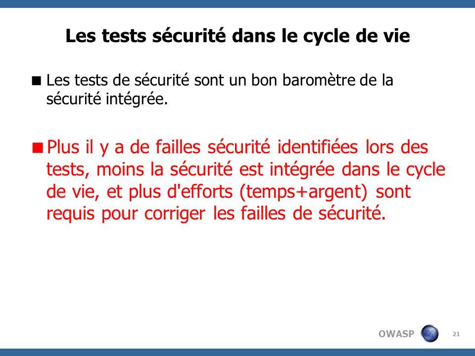 OWASP 21 Les tests sécurité dans le cycle de vie Les tests de sécurité sont un bon baromètre de la sécurité intégrée. Plus il y a de failles sécurité