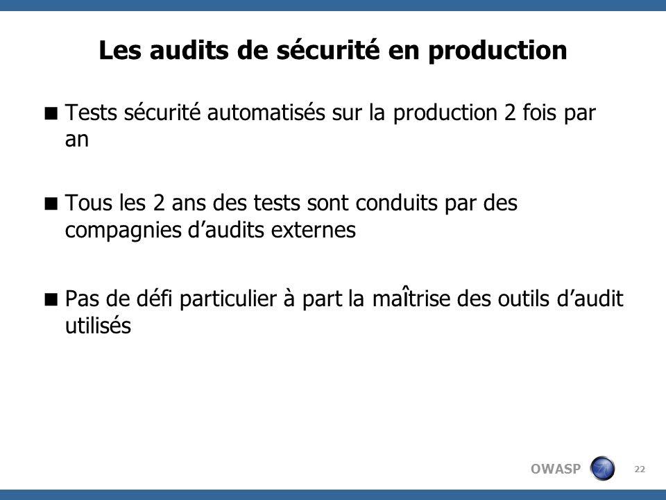 OWASP 22 Les audits de sécurité en production Tests sécurité automatisés sur la production 2 fois par an Tous les 2 ans des tests sont conduits par de