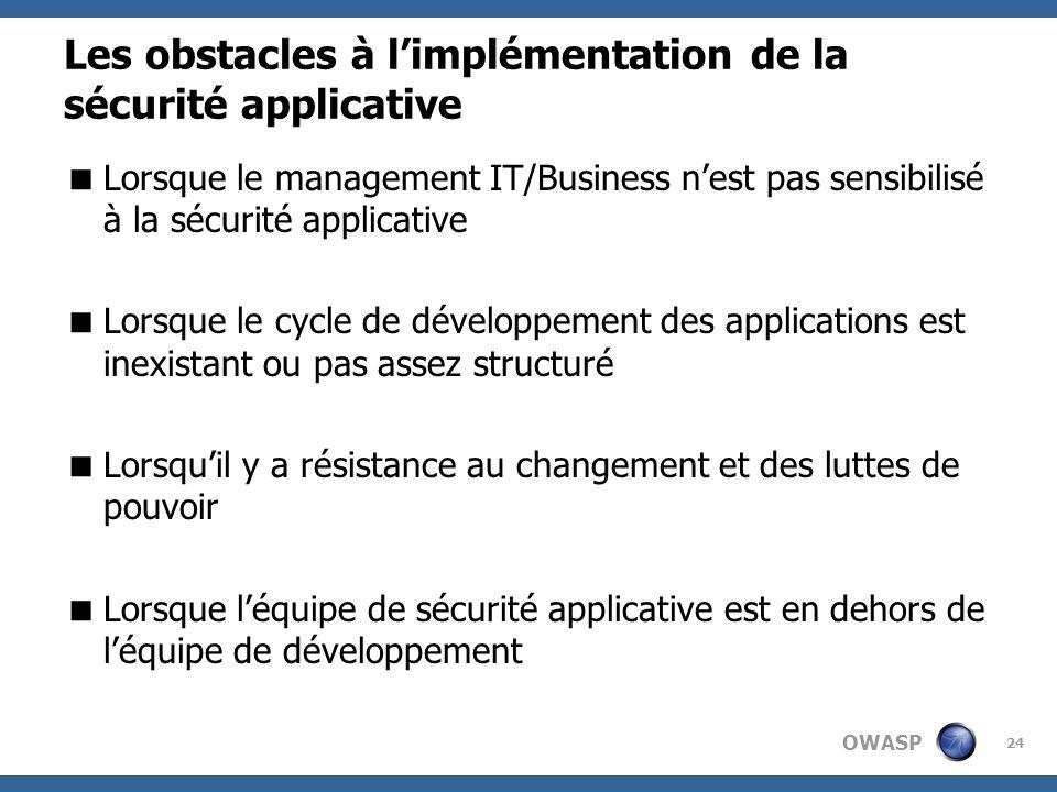 OWASP 24 Les obstacles à limplémentation de la sécurité applicative Lorsque le management IT/Business nest pas sensibilisé à la sécurité applicative L
