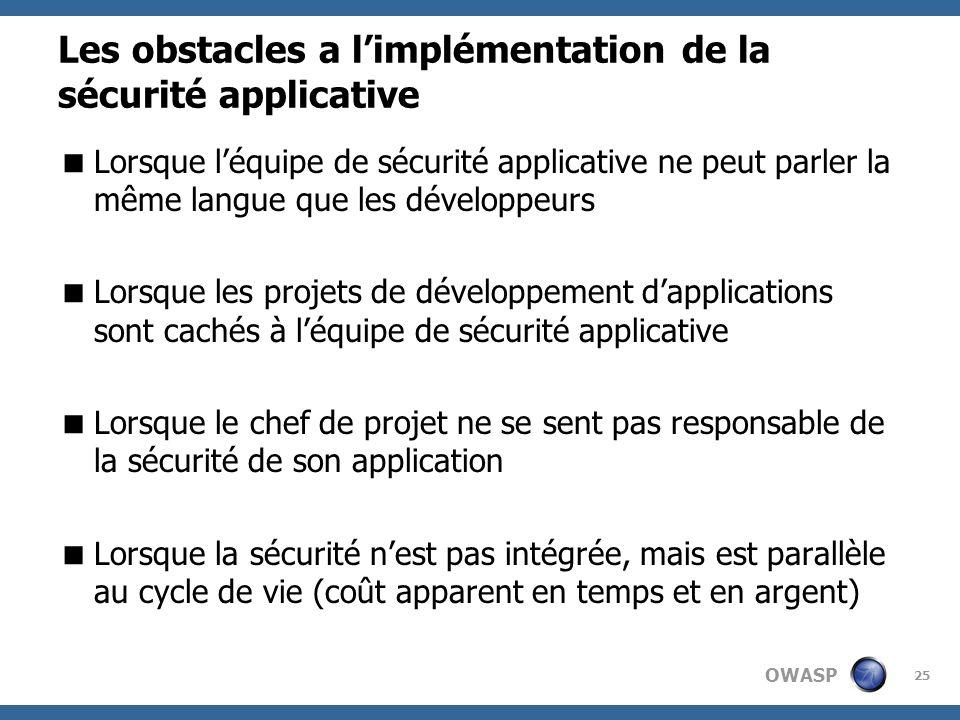 OWASP 25 Les obstacles a limplémentation de la sécurité applicative Lorsque léquipe de sécurité applicative ne peut parler la même langue que les déve