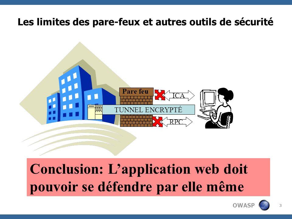 OWASP 3 Les limites des pare-feux et autres outils de sécurité HTTP/HTTPS ICA TUNNEL ENCRYPTÉ Pare feu RPC Conclusion: Lapplication web doit pouvoir s