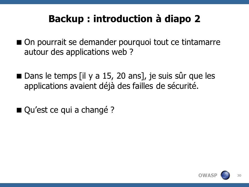 OWASP 30 Backup : introduction à diapo 2 On pourrait se demander pourquoi tout ce tintamarre autour des applications web ? Dans le temps [il y a 15, 2