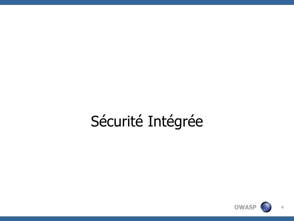 OWASP 5 Collecte des besoins Conception Développement et tests unitaires Tests Mise en production Guide pour la collecte des besoins sécurité des utilisateurs Guide pour une conception sécurisée Revue des points critiques de la conception -Minimisation des surfaces dattaques.