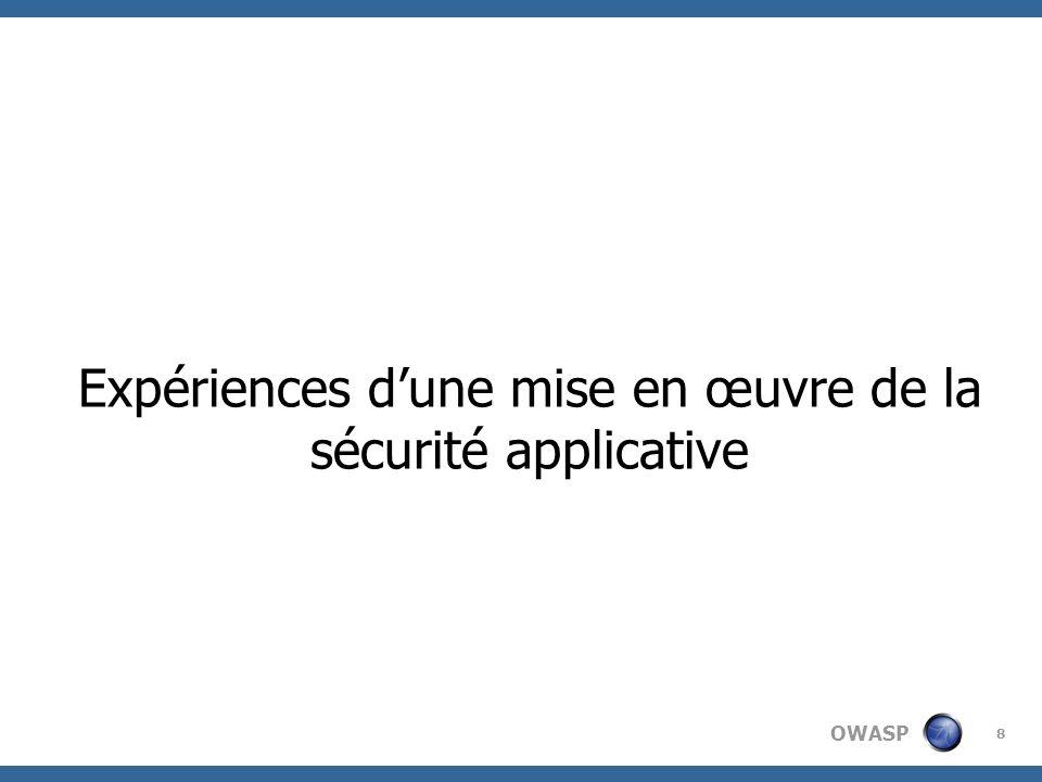 OWASP 8 Expériences dune mise en œuvre de la sécurité applicative