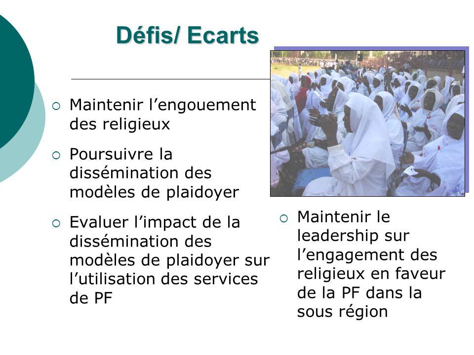 Prochaines étapes Plaidoyer pour lacquisition de ressources additionnelles pour la mise à échelle des interventions Généraliser la mise en place des groupes de plaidoyer au niveau régional et local pour une pérennisation des actions Renforcer la capacité dautres organisations religieuses pour soutenir la dissémination des modèles