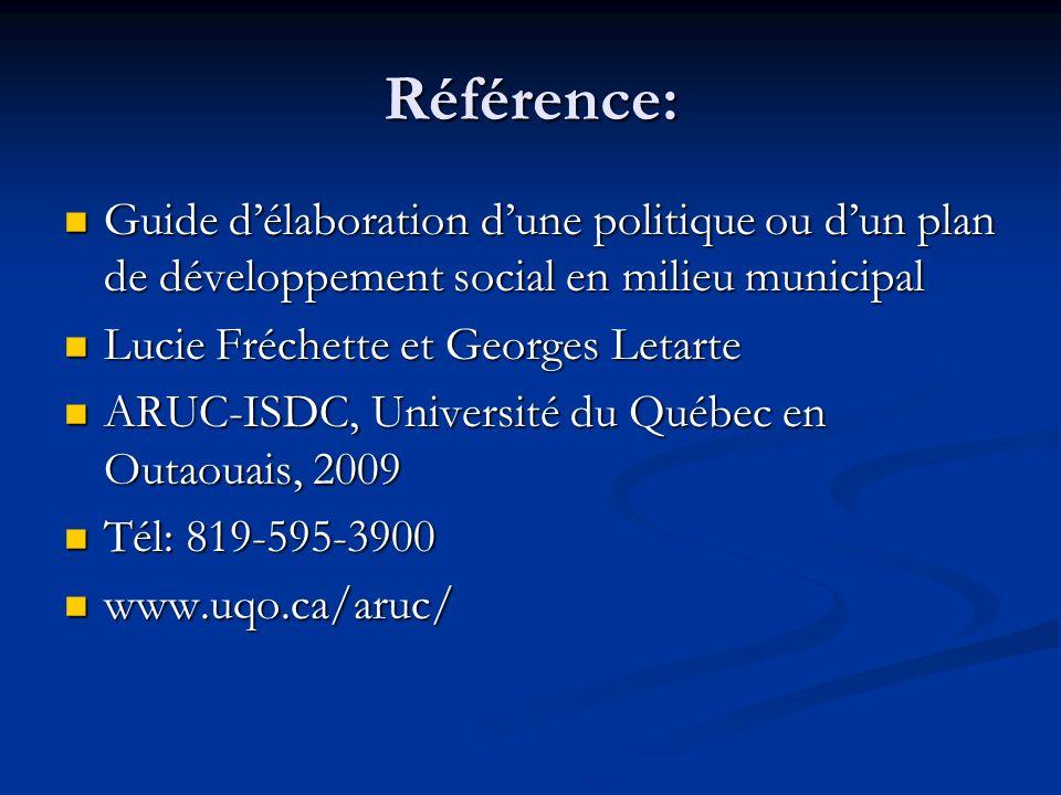 Référence: Guide délaboration dune politique ou dun plan de développement social en milieu municipal Guide délaboration dune politique ou dun plan de développement social en milieu municipal Lucie Fréchette et Georges Letarte Lucie Fréchette et Georges Letarte ARUC-ISDC, Université du Québec en Outaouais, 2009 ARUC-ISDC, Université du Québec en Outaouais, 2009 Tél: 819-595-3900 Tél: 819-595-3900 www.uqo.ca/aruc/ www.uqo.ca/aruc/