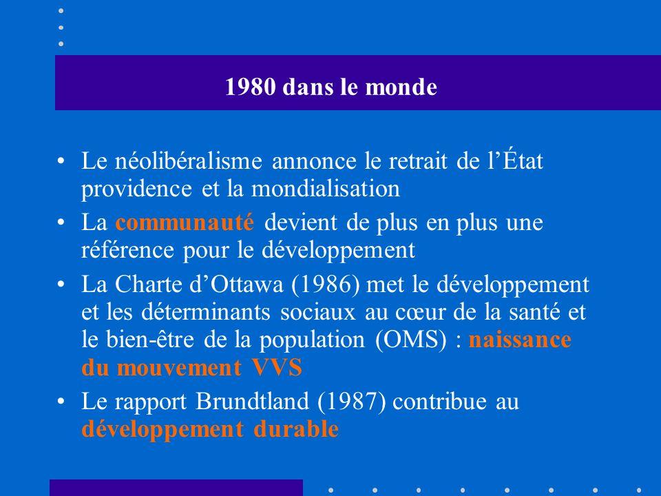 1980 dans le monde Le néolibéralisme annonce le retrait de lÉtat providence et la mondialisation La communauté devient de plus en plus une référence pour le développement La Charte dOttawa (1986) met le développement et les déterminants sociaux au cœur de la santé et le bien-être de la population (OMS) : naissance du mouvement VVS Le rapport Brundtland (1987) contribue au développement durable