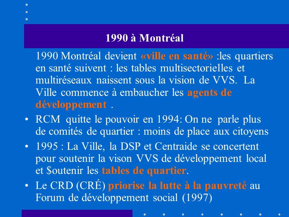 1990 à Montréal 1990 Montréal devient «ville en santé» :les quartiers en santé suivent : les tables multisectorielles et multiréseaux naissent sous la vision de VVS.