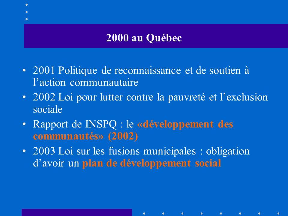 2000 au Québec 2001 Politique de reconnaissance et de soutien à laction communautaire 2002 Loi pour lutter contre la pauvreté et lexclusion sociale Rapport de INSPQ : le «développement des communautés» (2002) 2003 Loi sur les fusions municipales : obligation davoir un plan de développement social