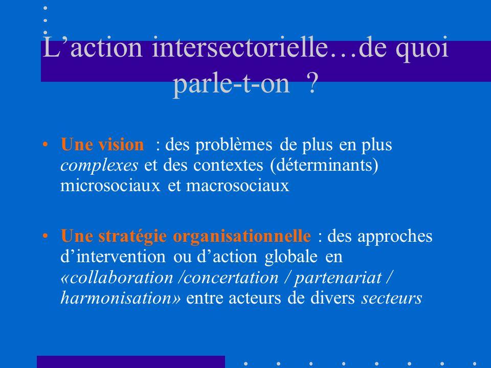 Laction intersectorielle…de quoi parle-t-on ? Une vision : des problèmes de plus en plus complexes et des contextes (déterminants) microsociaux et mac