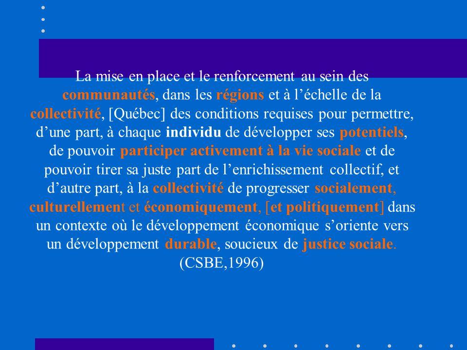 Ça implique On présume des potentiels de la population On y voit la participation citoyenne On ne parle pas de pauvreté On parle de développement durable (1987) On y sous-tend les valeurs de justice sociale On commence à y voir lintersectorialité….