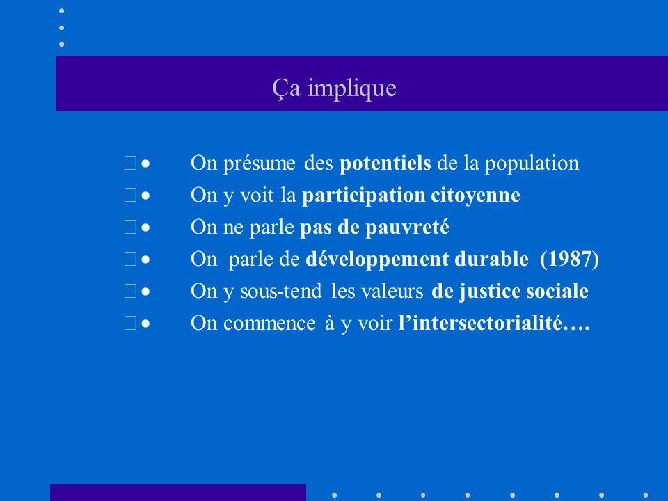 2000 à Montréal Les tables de quartier se développent 2002 Les quartiers de RUI apparaissent Chagnon commence «Québec en forme» à Montréal Lécole en communautaire et les écoles en santé apparaissent(CSDM et MELS) Les quartiers de ATI apparaissent (MESS)