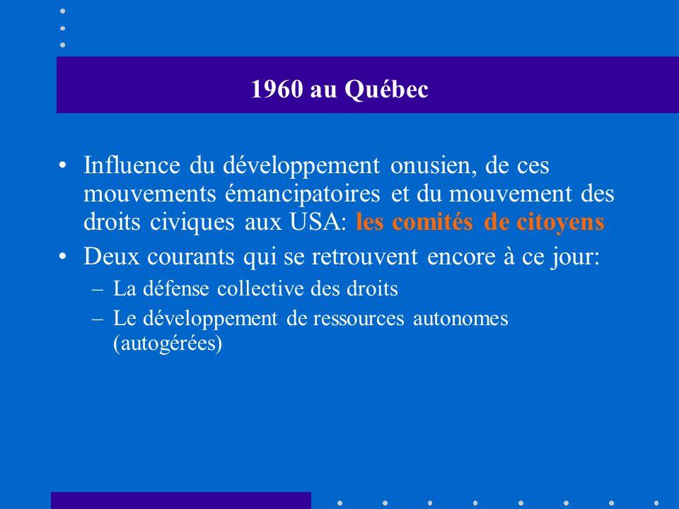 1970 au Québec Les comités de citoyens deviennent des groupes populaires: associations de locataires, chômeurs, consommateurs, personnes assistées sociales, femmes, etc.