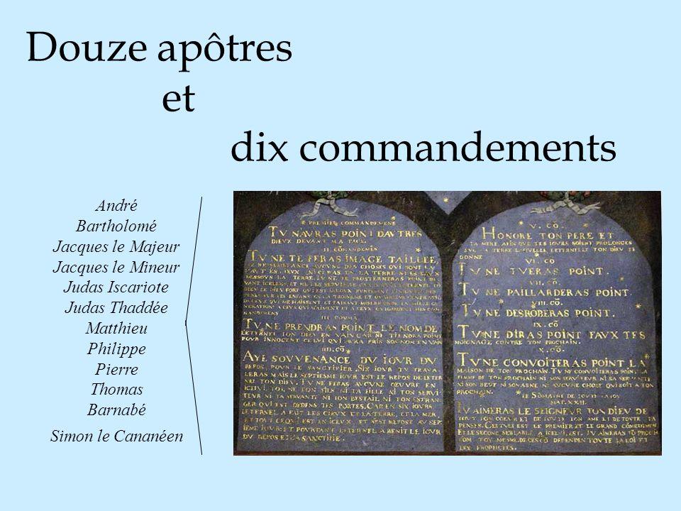 Douze apôtres et dix commandements André Bartholomé Jacques le Majeur Jacques le Mineur Judas Iscariote Judas Thaddée Matthieu Philippe Pierre Thomas