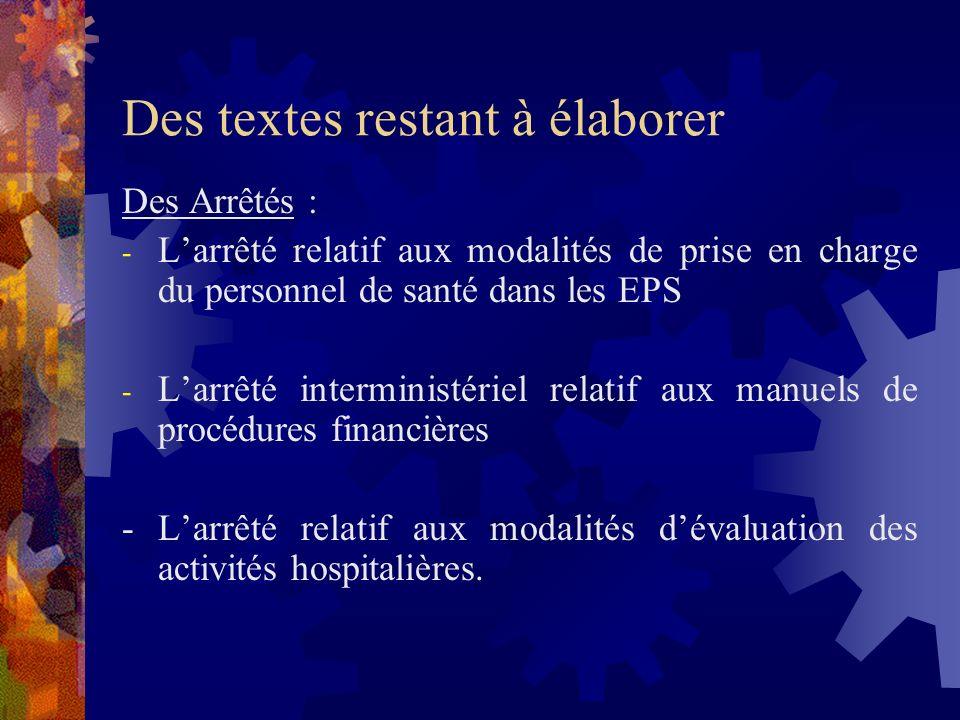 Des textes restant à élaborer Des Décrets : - Le décret fixant les conditions de participation des établissements privés de santé au service public -