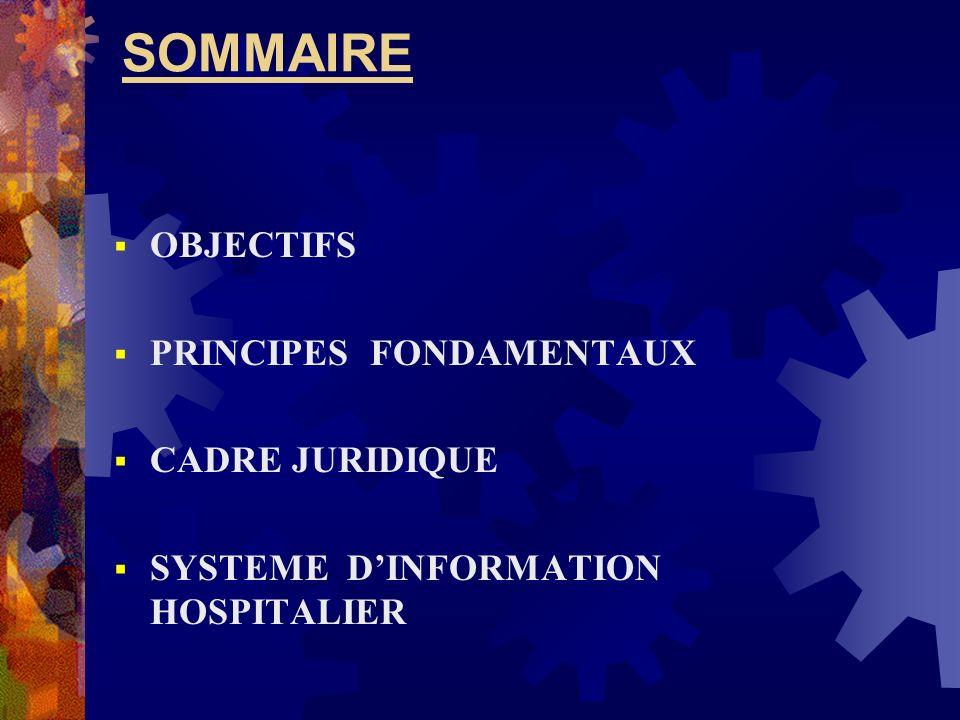 SOMMAIRE OBJECTIFS PRINCIPES FONDAMENTAUX CADRE JURIDIQUE SYSTEME DINFORMATION HOSPITALIER