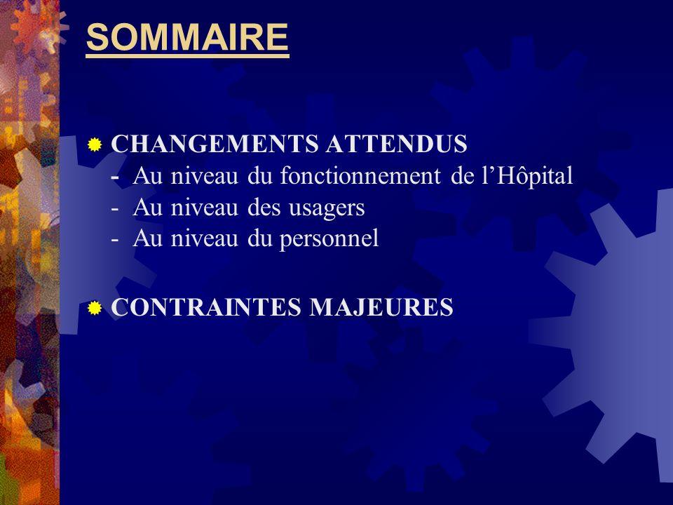 SOMMAIRE CHANGEMENTS ATTENDUS - Au niveau du fonctionnement de lHôpital - Au niveau des usagers - Au niveau du personnel CONTRAINTES MAJEURES