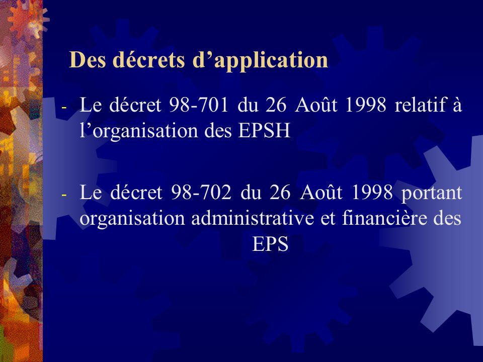 Des décrets dapplication - Le décret 98-701 du 26 Août 1998 relatif à lorganisation des EPSH - Le décret 98-702 du 26 Août 1998 portant organisation administrative et financière des EPS