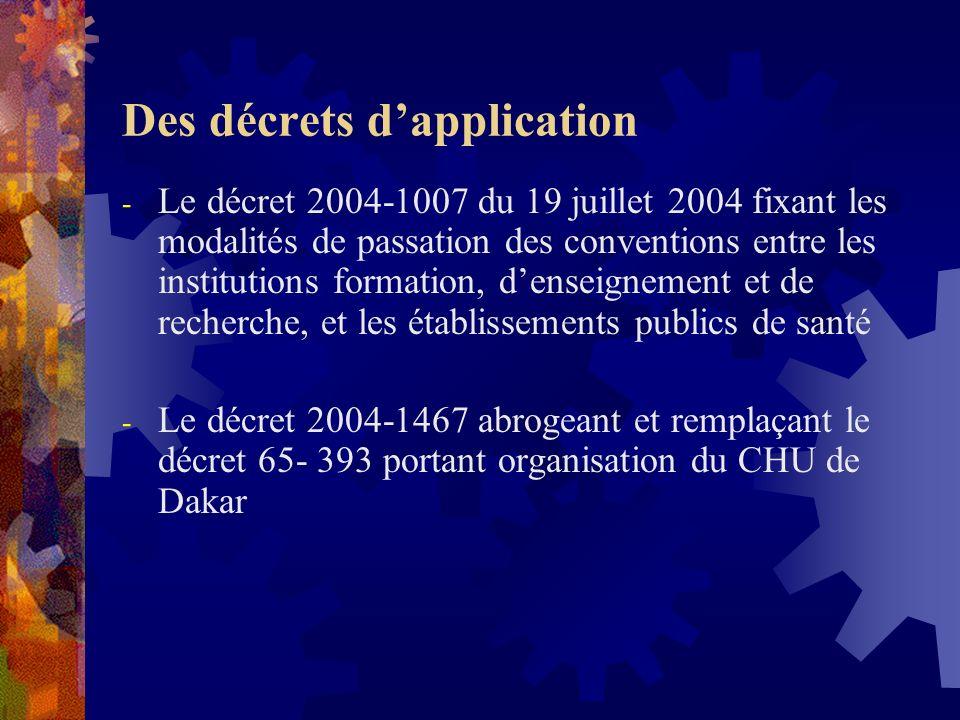Des décrets dapplication - Le décret 2004-1007 du 19 juillet 2004 fixant les modalités de passation des conventions entre les institutions formation, denseignement et de recherche, et les établissements publics de santé - Le décret 2004-1467 abrogeant et remplaçant le décret 65- 393 portant organisation du CHU de Dakar