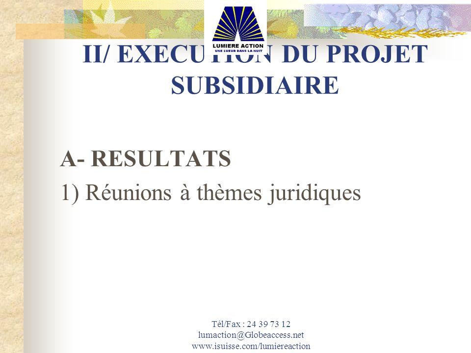 Tél/Fax : 24 39 73 12 lumaction@Globeaccess.net www.isuisse.com/lumiereaction II/ EXECUTION DU PROJET SUBSIDIAIRE A- RESULTATS 1) Réunions à thèmes ju