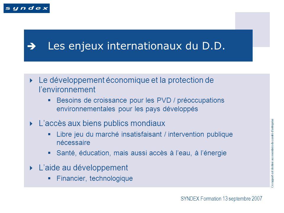 Ce rapport est destiné aux membres du comité dentreprise SYNDEX Formation 13 septembre 2007 Les enjeux internationaux du D.D.