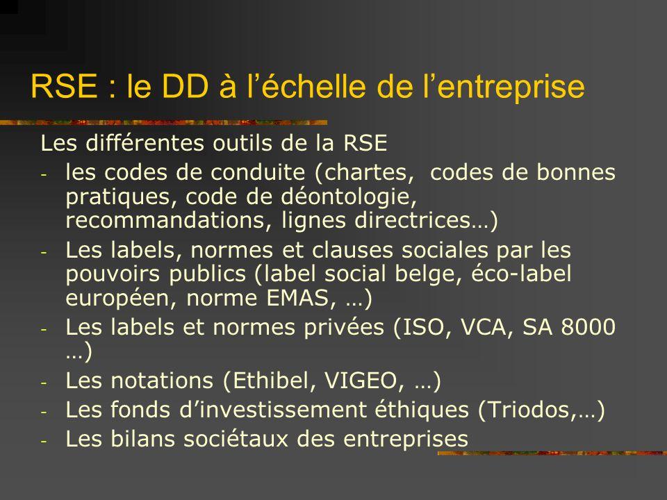 RSE : le DD à léchelle de lentreprise Les différentes outils de la RSE - les codes de conduite (chartes, codes de bonnes pratiques, code de déontologie, recommandations, lignes directrices…) - Les labels, normes et clauses sociales par les pouvoirs publics (label social belge, éco-label européen, norme EMAS, …) - Les labels et normes privées (ISO, VCA, SA 8000 …) - Les notations (Ethibel, VIGEO, …) - Les fonds dinvestissement éthiques (Triodos,…) - Les bilans sociétaux des entreprises