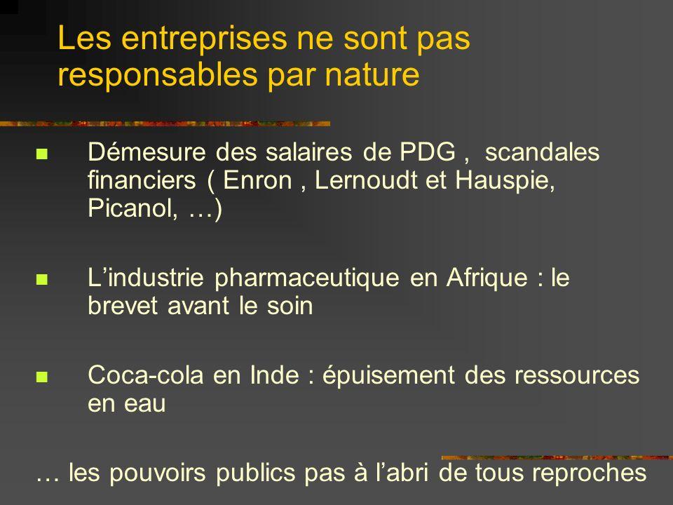 Démesure des salaires de PDG, scandales financiers ( Enron, Lernoudt et Hauspie, Picanol, …) Lindustrie pharmaceutique en Afrique : le brevet avant le soin Coca-cola en Inde : épuisement des ressources en eau … les pouvoirs publics pas à labri de tous reproches Les entreprises ne sont pas responsables par nature