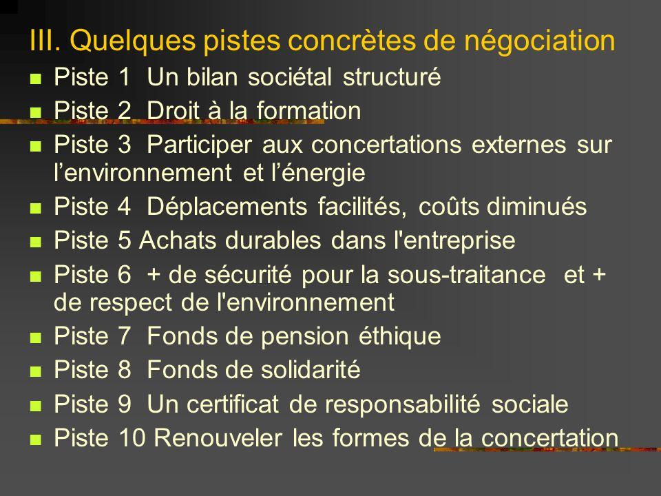 III. Quelques pistes concrètes de négociation Piste 1 Un bilan sociétal structuré Piste 2 Droit à la formation Piste 3 Participer aux concertations ex