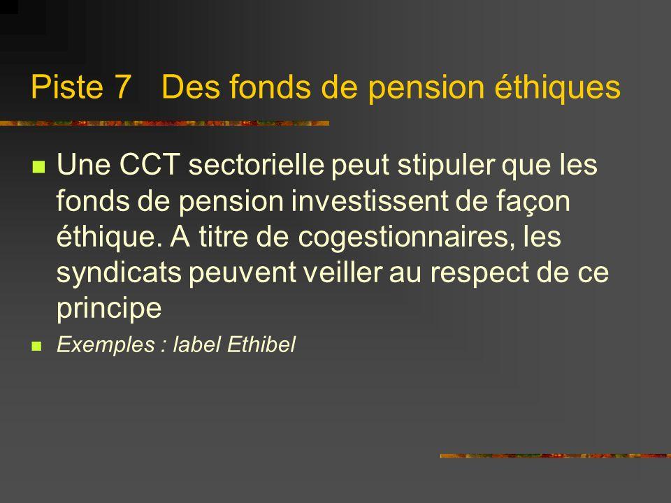 Piste 7 Des fonds de pension éthiques Une CCT sectorielle peut stipuler que les fonds de pension investissent de façon éthique.